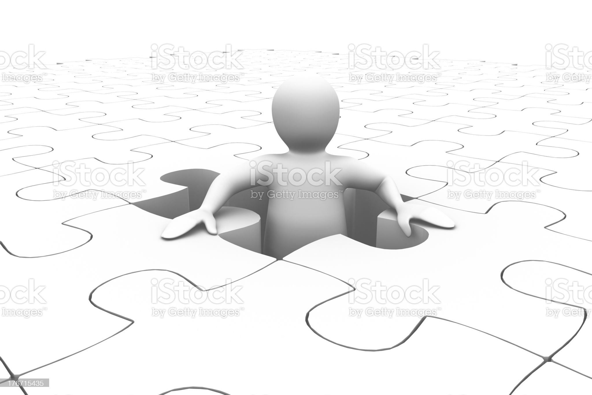 White human representation standing in the middle of jigsaw puzz royalty-free stock photo