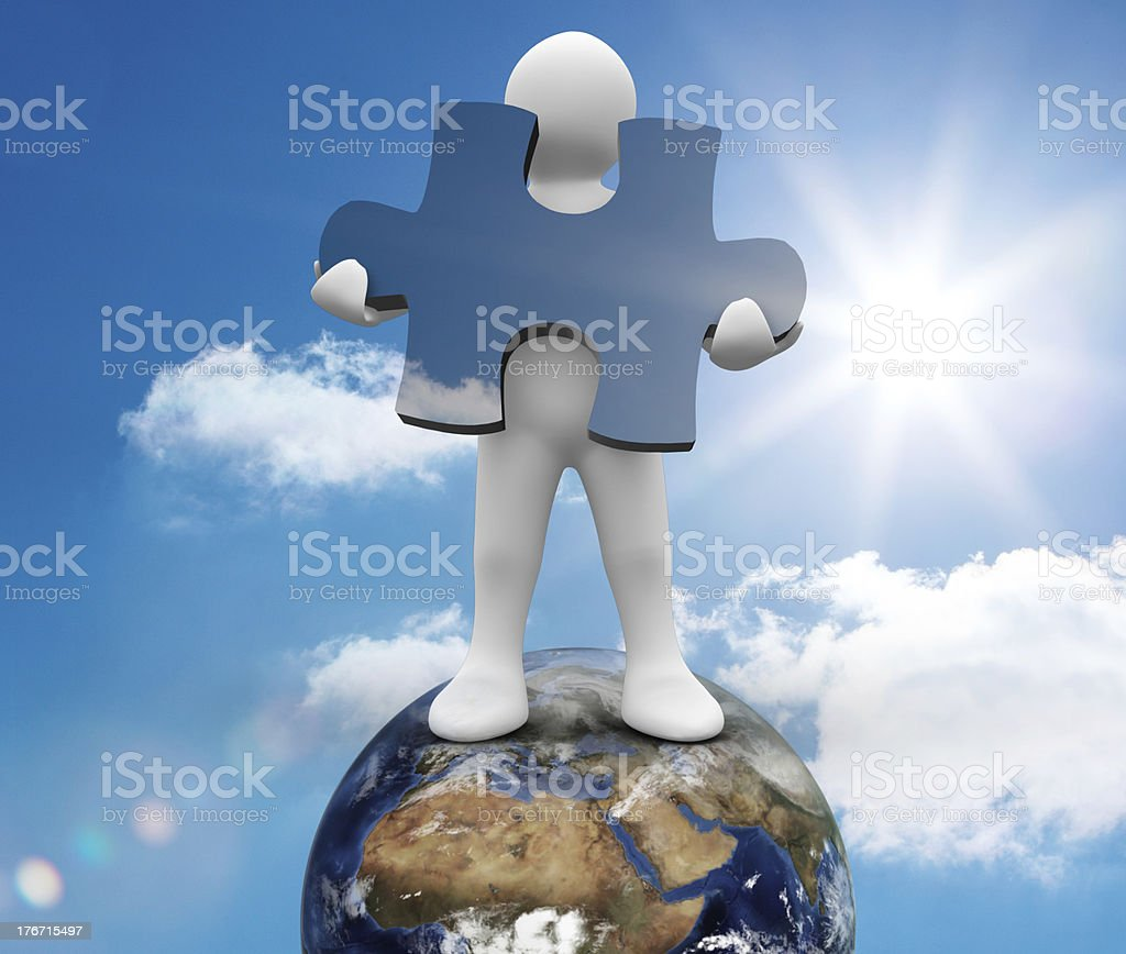 White human representation standing on earth royalty-free stock photo