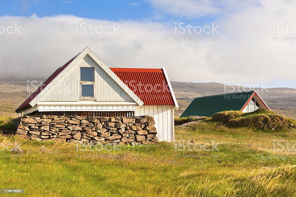 White Icelandic House at Sunny Day royalty-free stock photo
