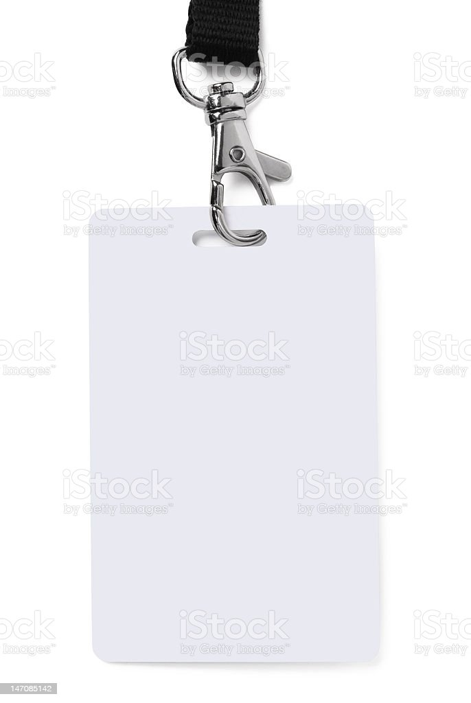 White ID card attach to a lanyard stock photo
