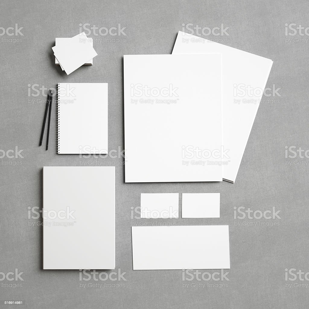 White identity elements on textile background stock photo