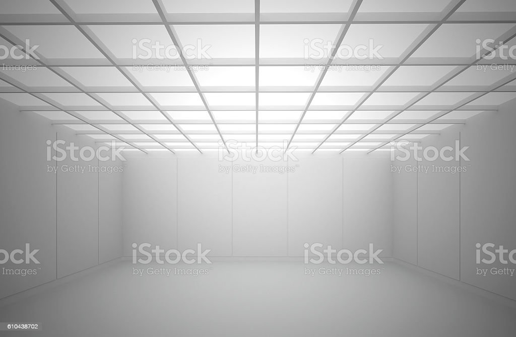 White interior with a square cellular ceiling. stock photo