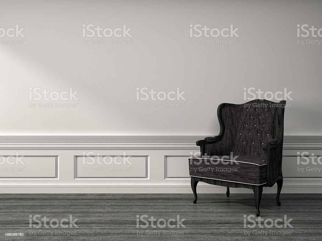 white interior with chair. 3d illustration stock photo