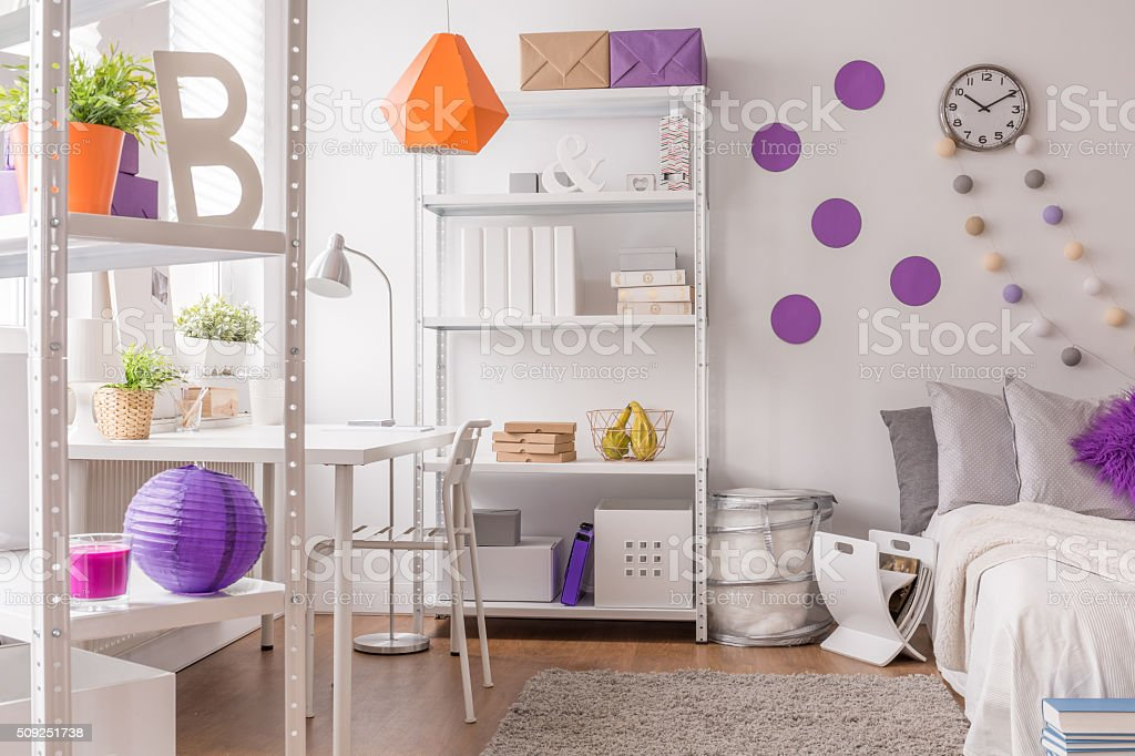White interior with color details stock photo