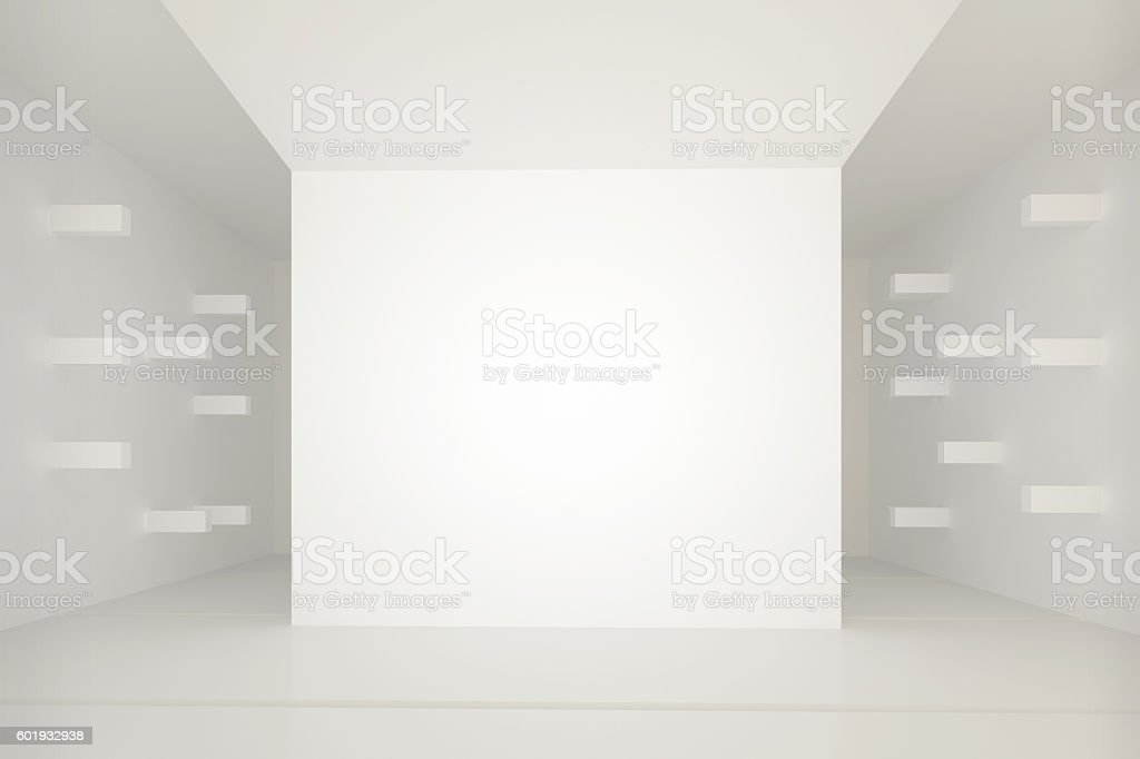 White interior with horizontal  extruded wall elements. stock photo