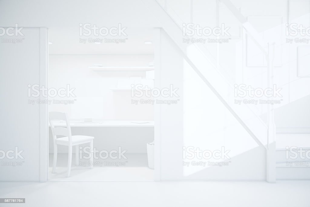 White interior with workplace stock photo