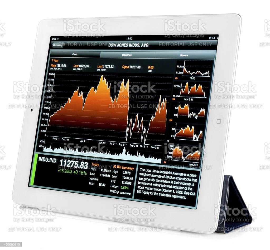 white iPad 2 with stock charts stock photo