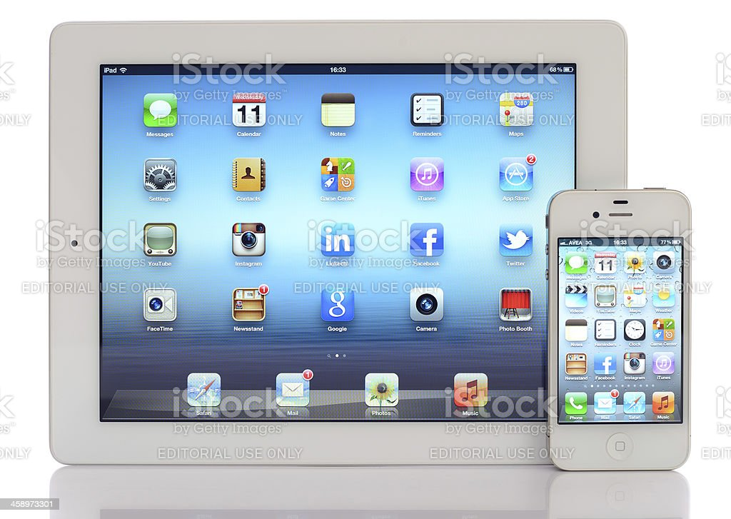 White iPad 3 & iPhone 4 royalty-free stock photo