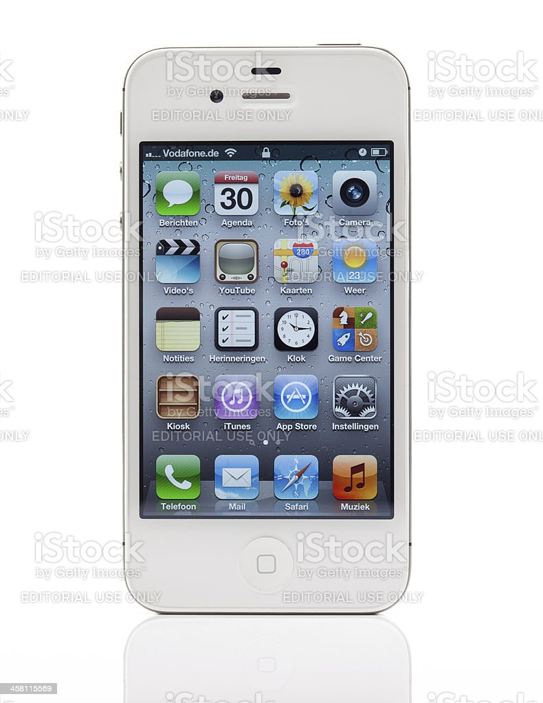 White iPhone 4S with Dutch main page royalty-free stock photo