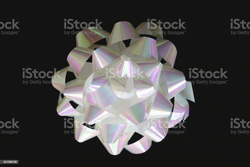 White Iridescent Gift Bow w-clip royalty-free stock photo