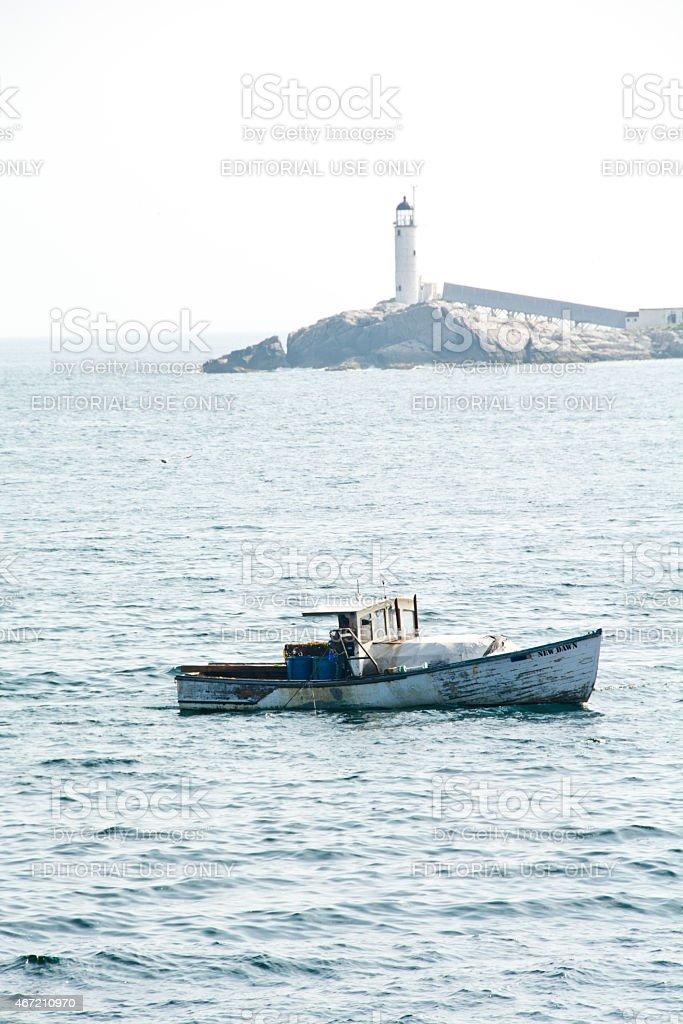 White Island light over the New Dawn stock photo