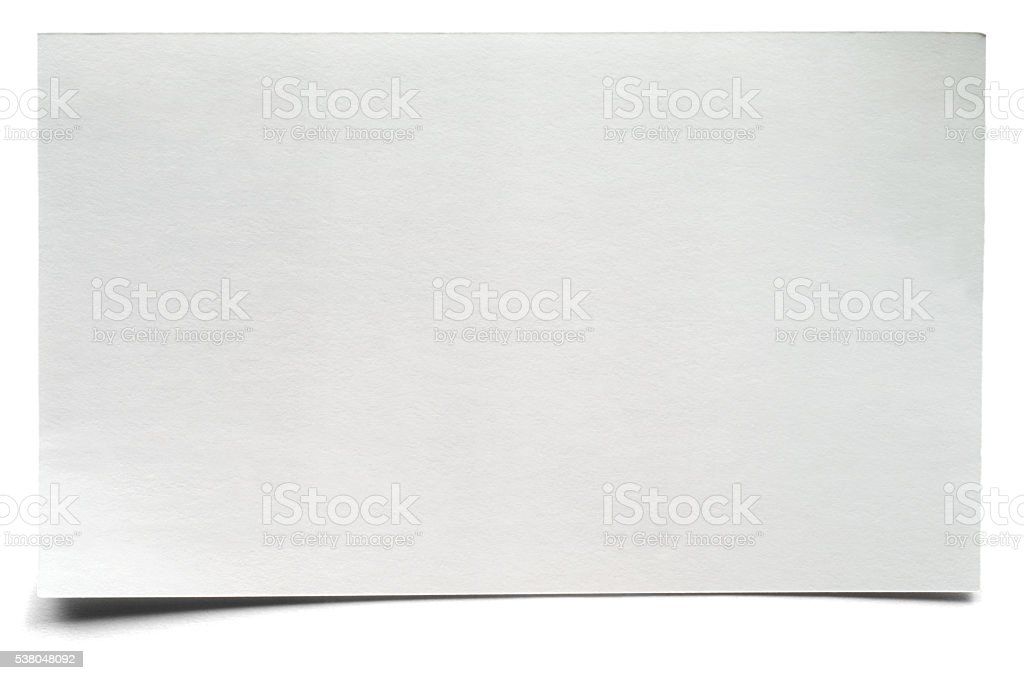 White isolated blank index card stock photo