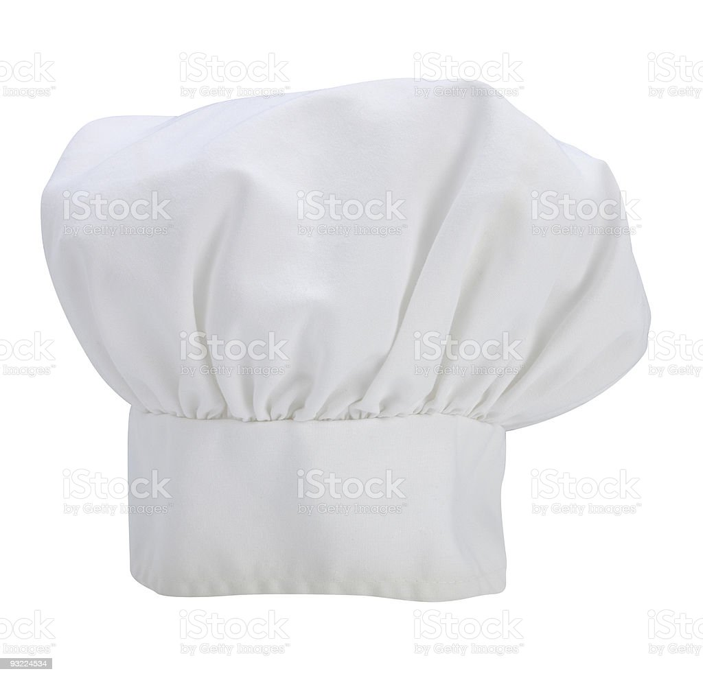 A white isolated chefs hat on white stock photo