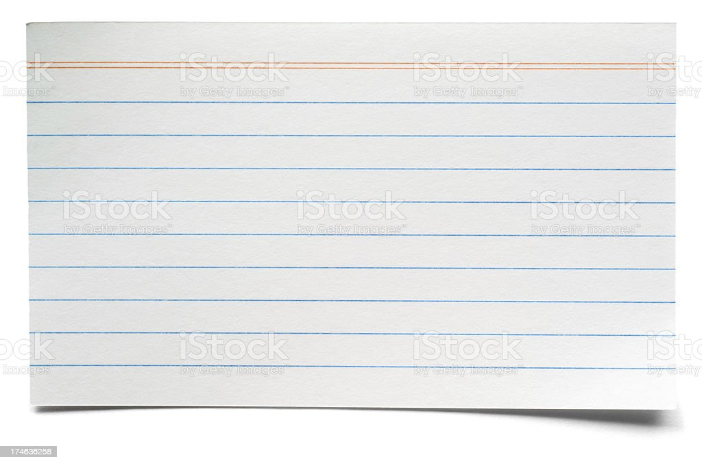 White isolated lined index card stock photo