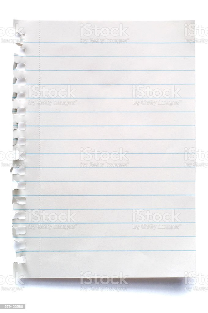 White isolated sheet of blank lined paper stock photo