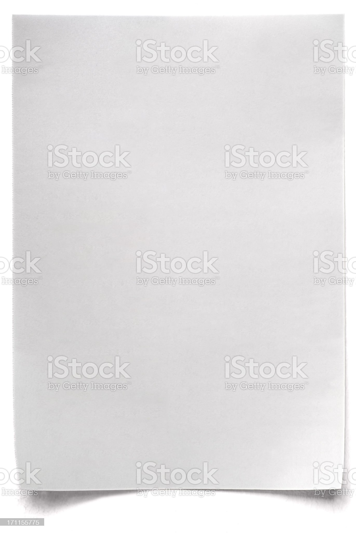 White isolated sheet of blank Paper royalty-free stock photo