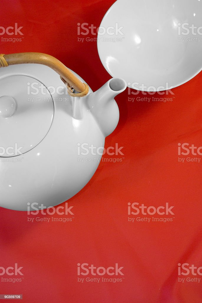 White japanese tea service on red silk background royalty-free stock photo
