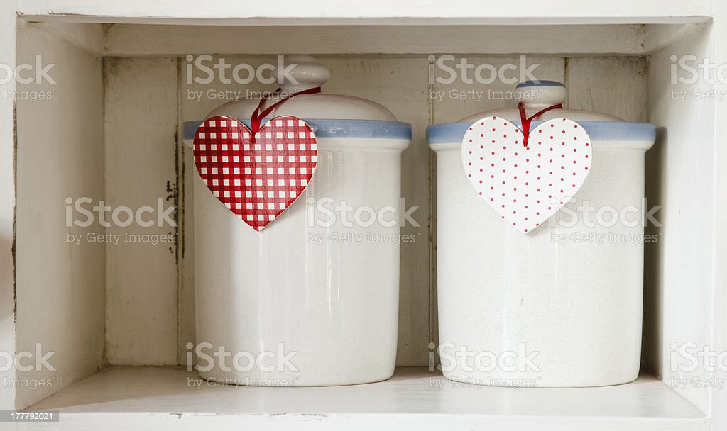 White jars and heart royalty-free stock photo