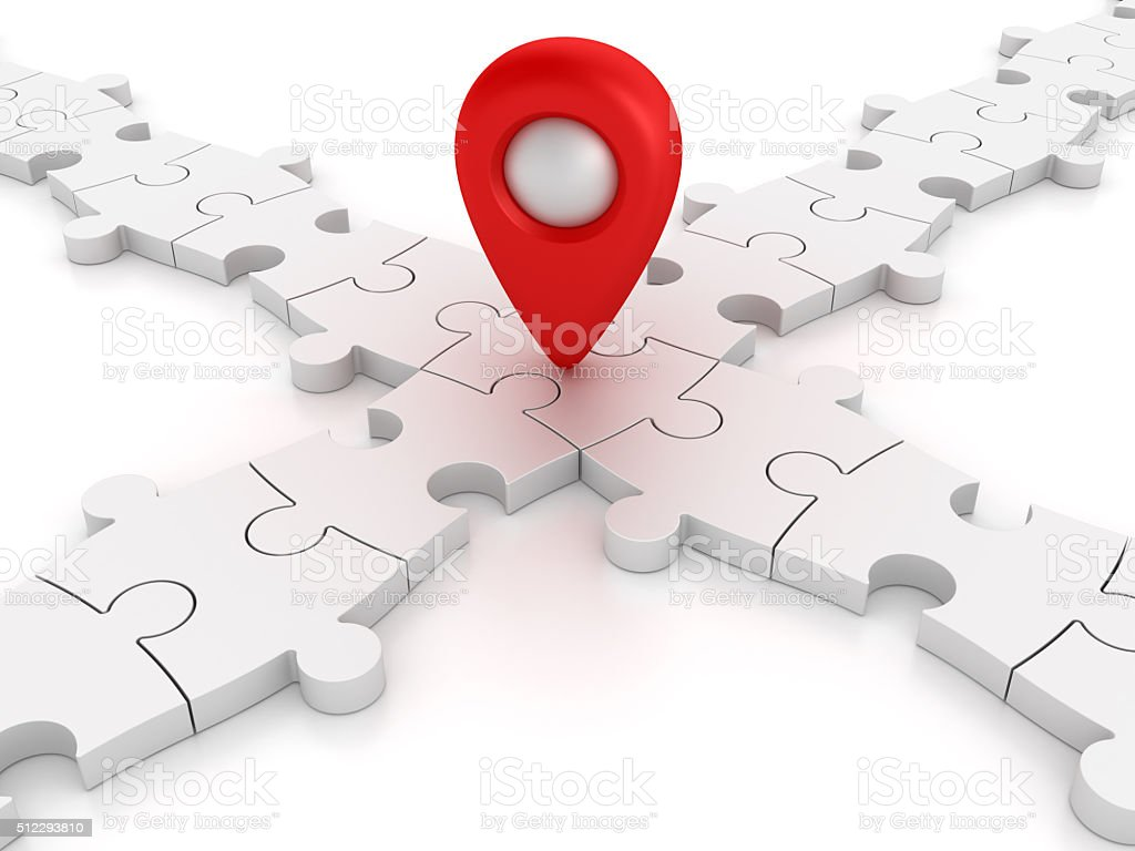 White Jigsaw pieces With Gps Marker stock photo