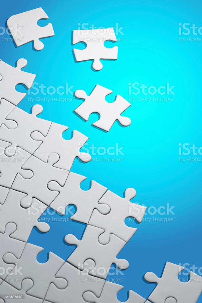 White Jigsaw Puzzle (with Clipping Path) stock photo