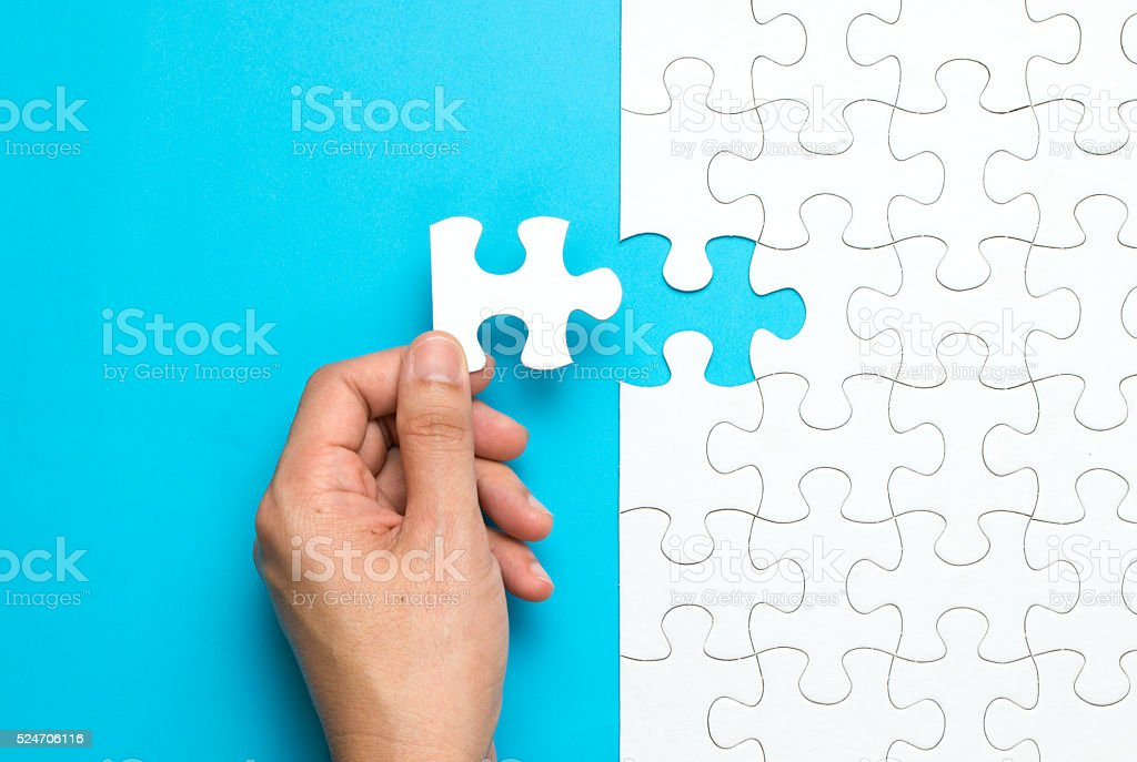 White jigsaw puzzle stock photo