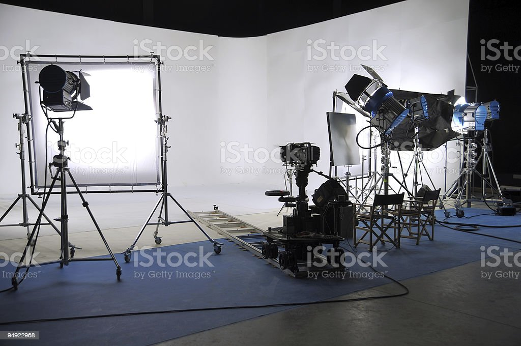 White key studio with filming materials royalty-free stock photo