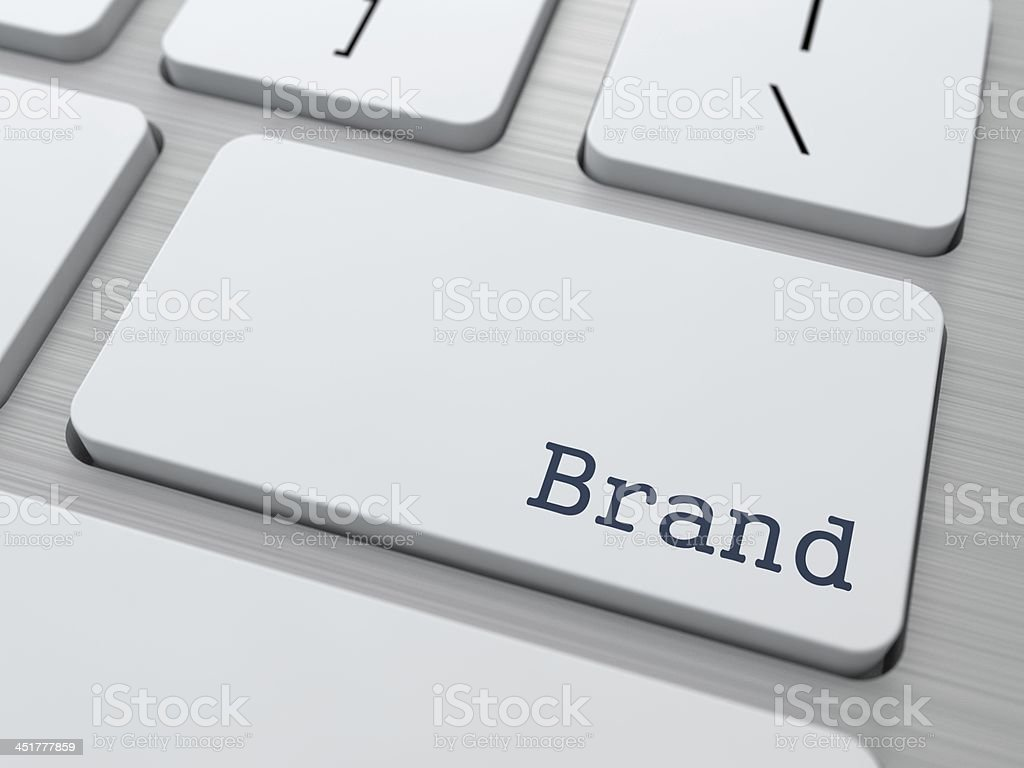 White Keyboard with Brand Button. stock photo