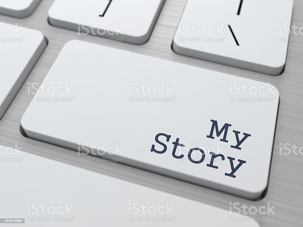 White Keyboard with My Story Button. stock photo