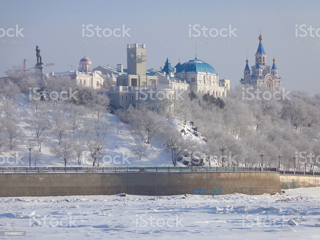 White Khabarovsk. The view from the Amur. Russia stock photo