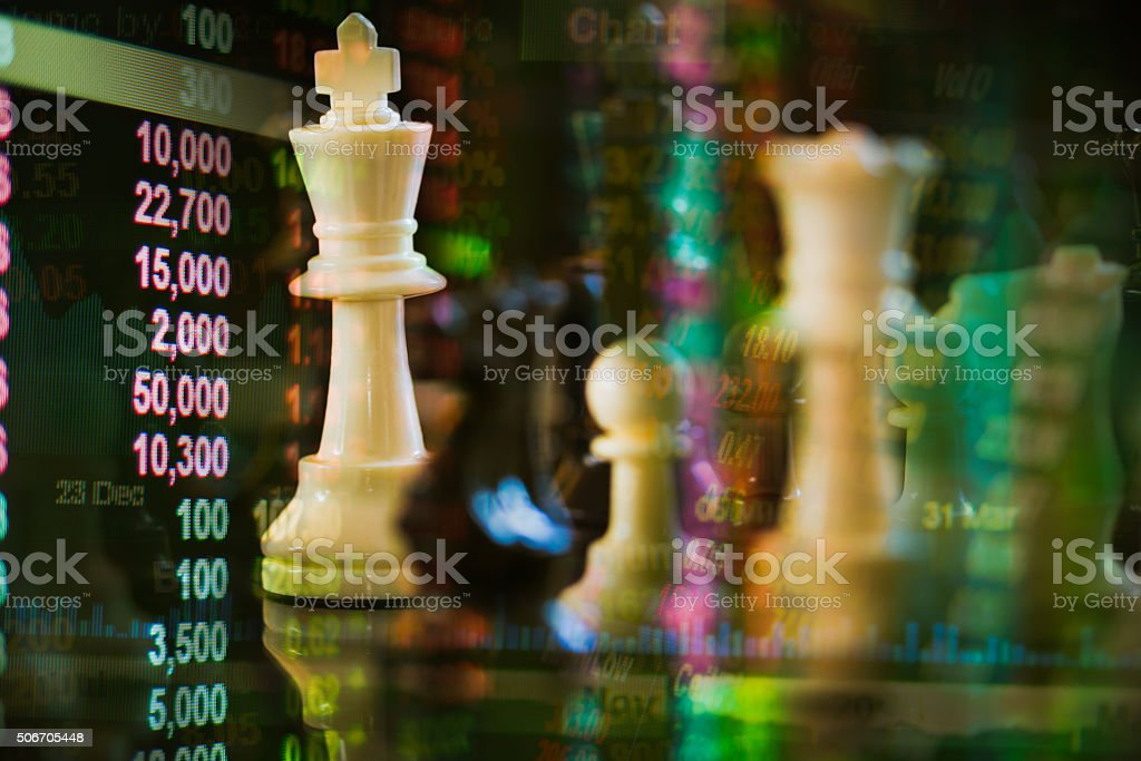 white king chess merge with stock market concept stock photo