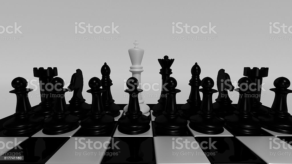 white king for black pieces stock photo
