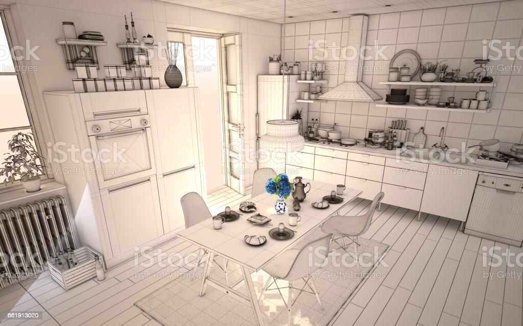 White Kitchen 3D Render Wireframe stock photo