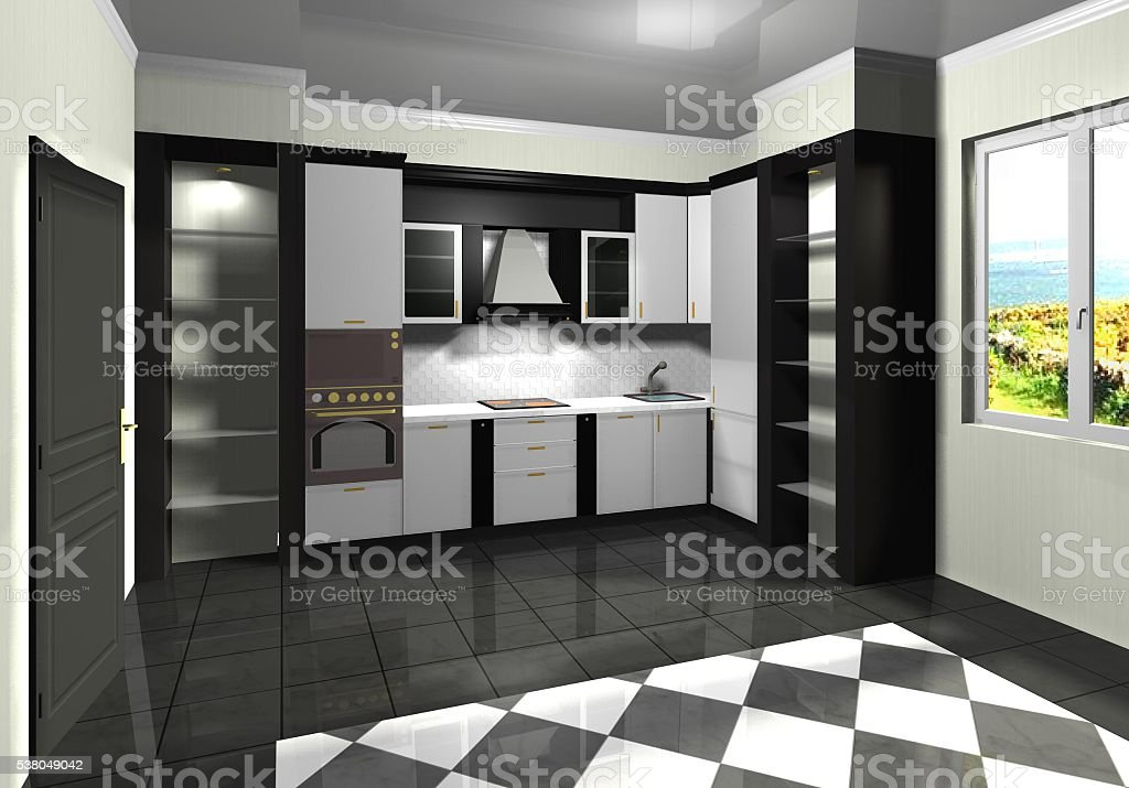 white kitchen black modern classic  3D rendering design stock photo
