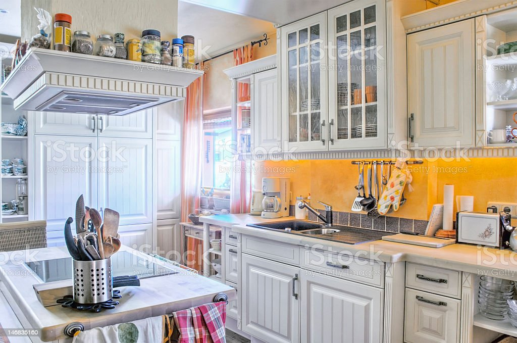 White Kitchen in Country Style stock photo