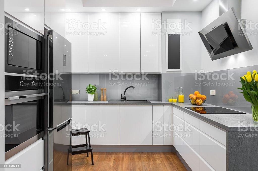 White kitchen in modern style idea stock photo