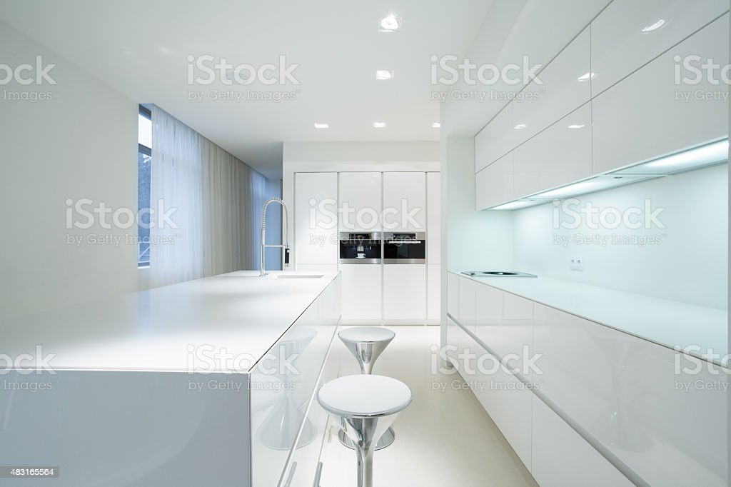 White kitchen interior stock photo