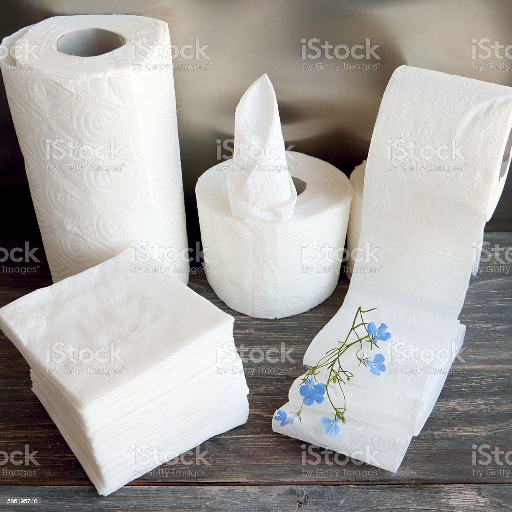 White kitchen paper towel, toilet paper, paper tissue stock photo