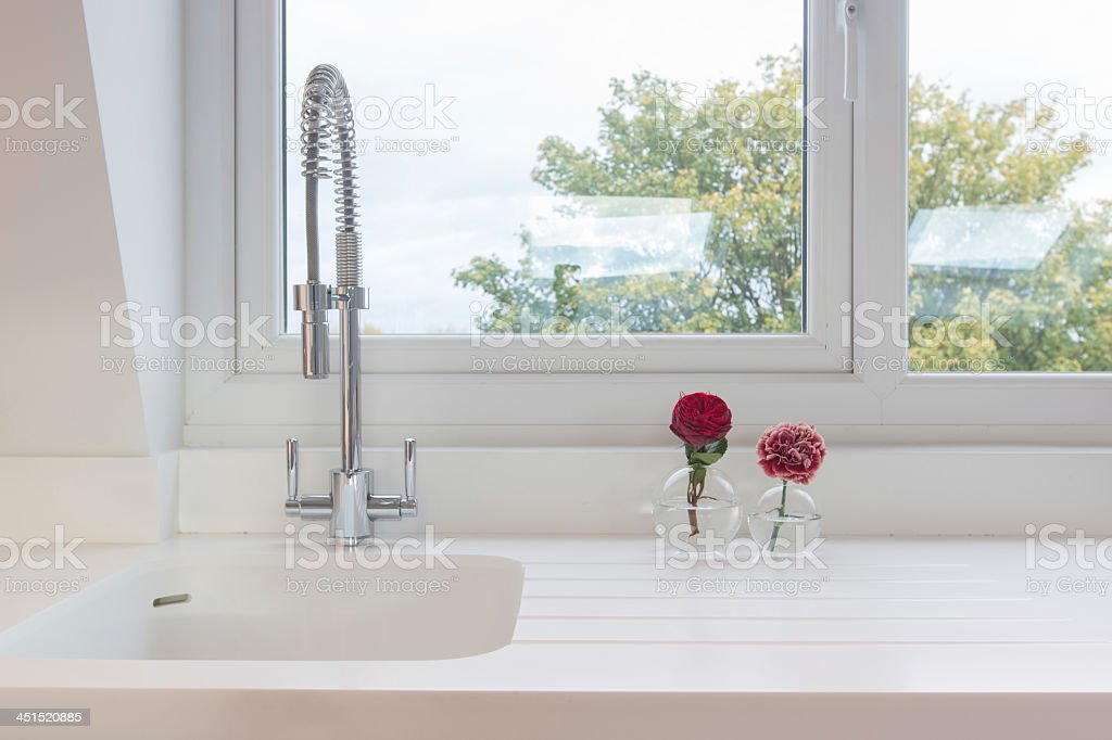 White Kitchen Sink stock photo