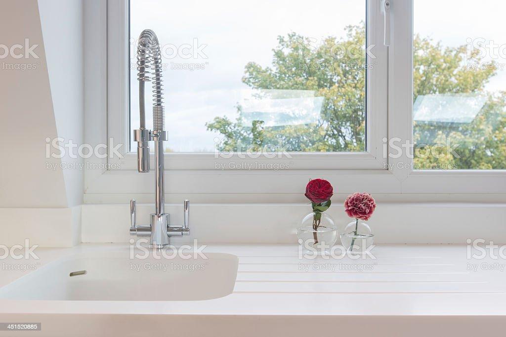 White Kitchen Sink stock photo