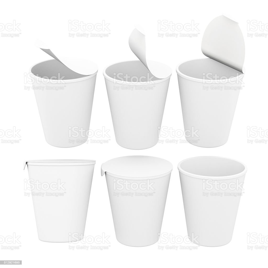 White  label  food cup with foil lid,  clipping path included stock photo