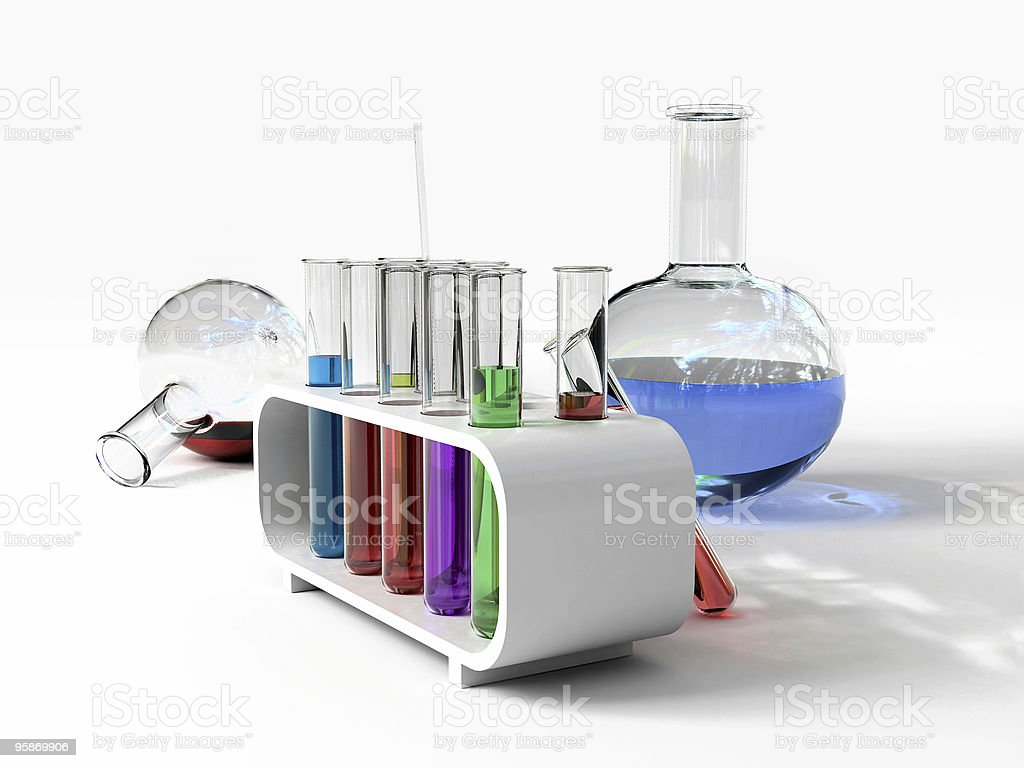 White laboratory with colored test tubes stock photo