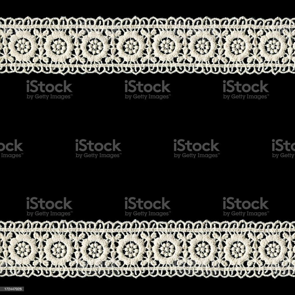 White Lace frame isolated on black background royalty-free stock photo