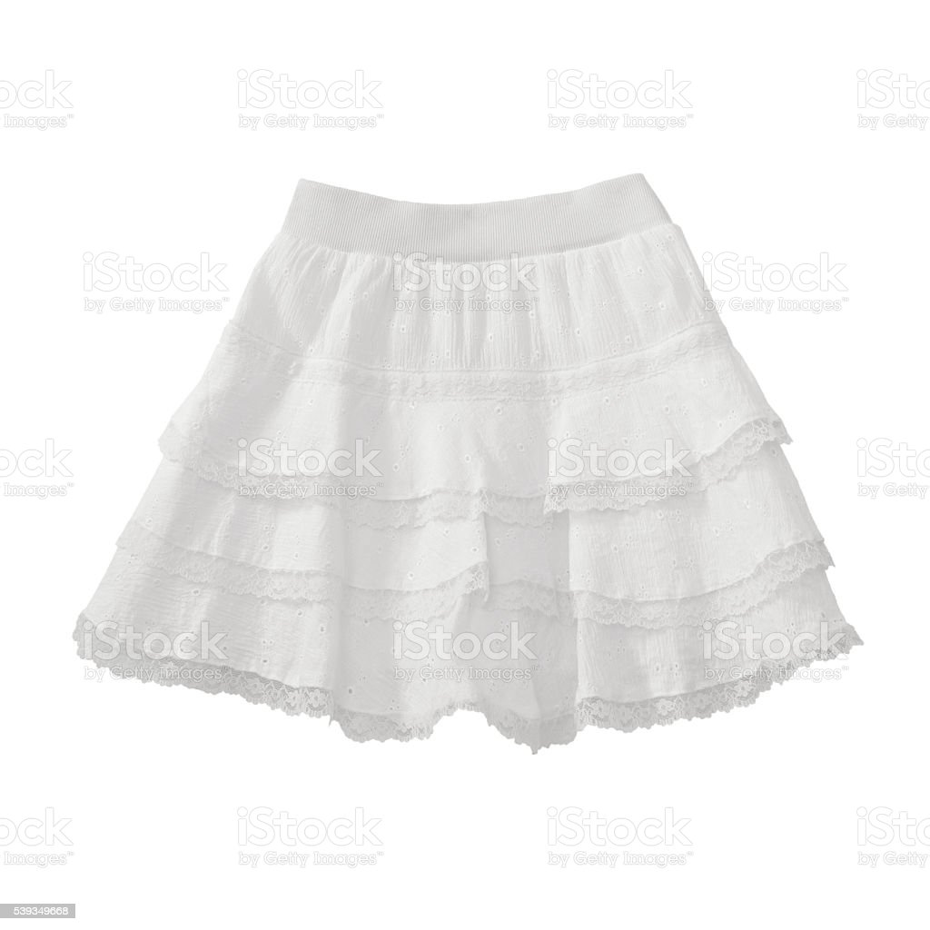 White lace skirt on white background stock photo