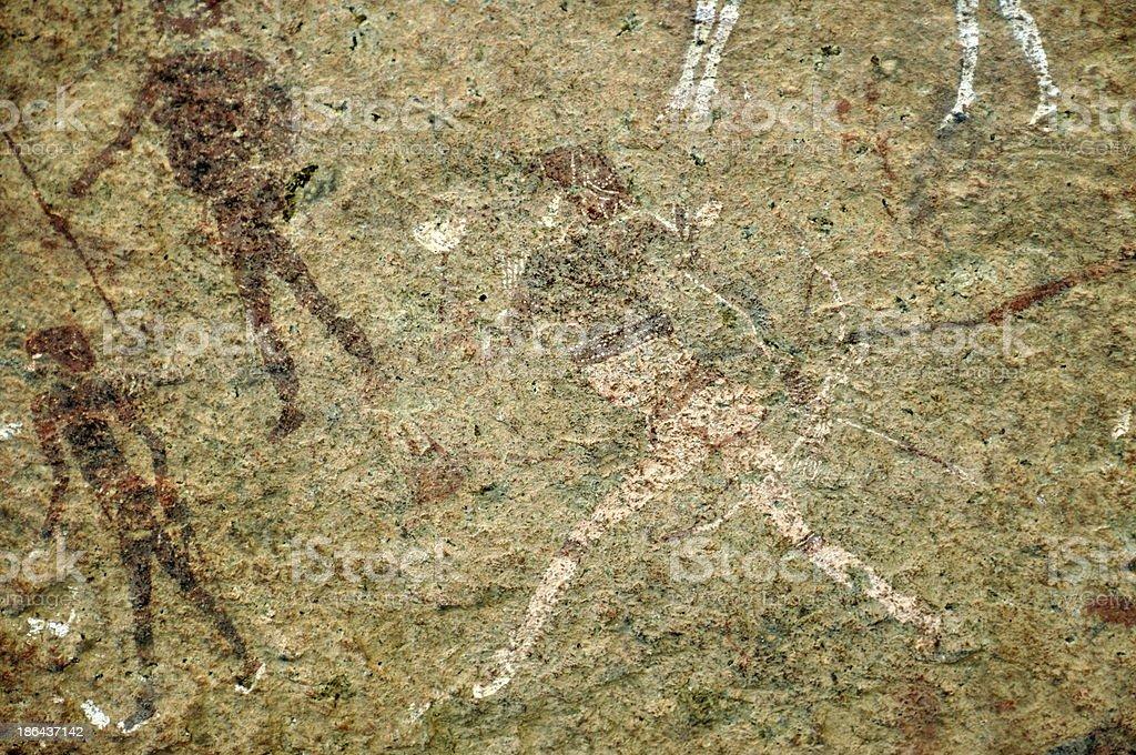 White lady wall paintings in Brandberg,Namibia stock photo