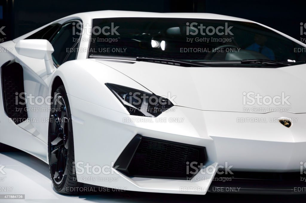 White Lamborghini Aventador stock photo