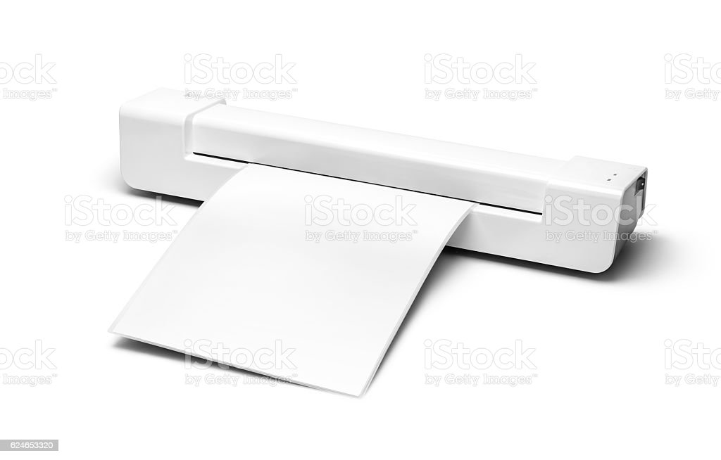 White laminator with a white sheet of paper stock photo