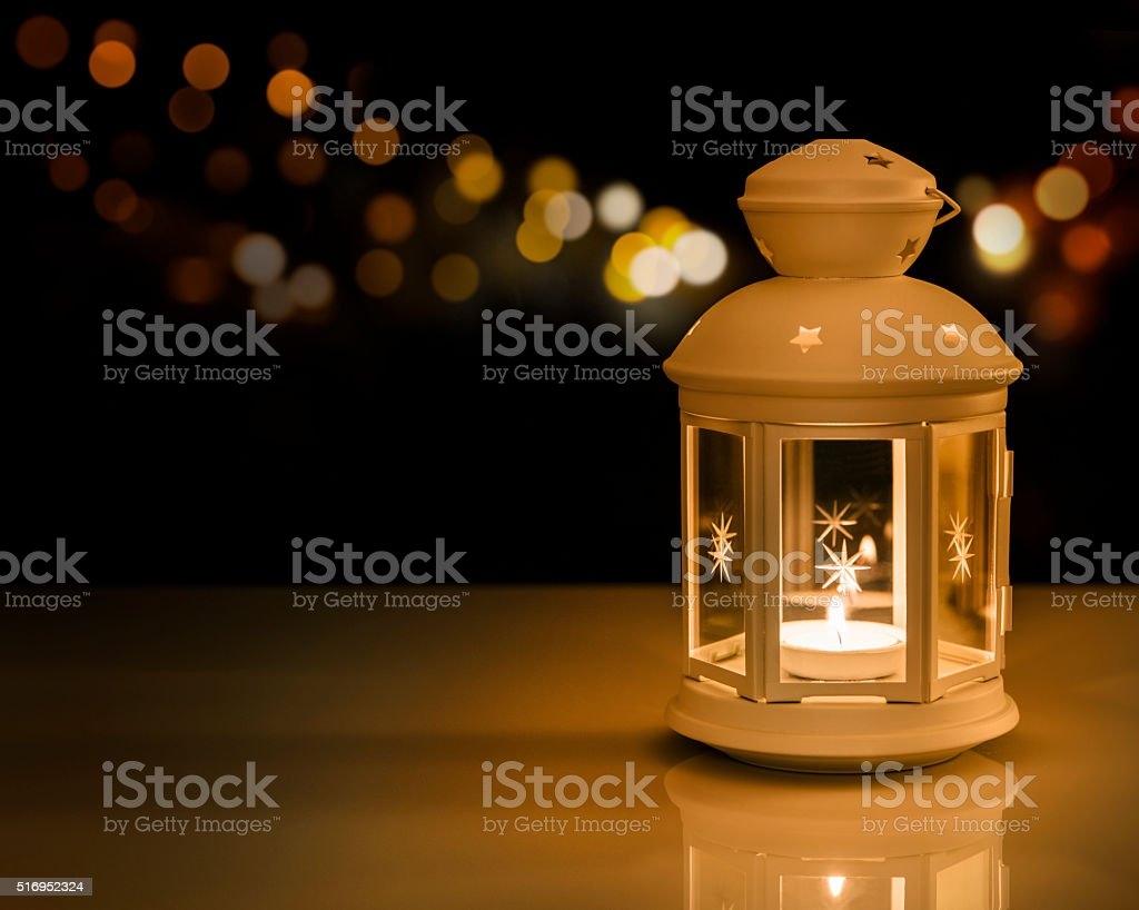 White lantern with night lights stock photo