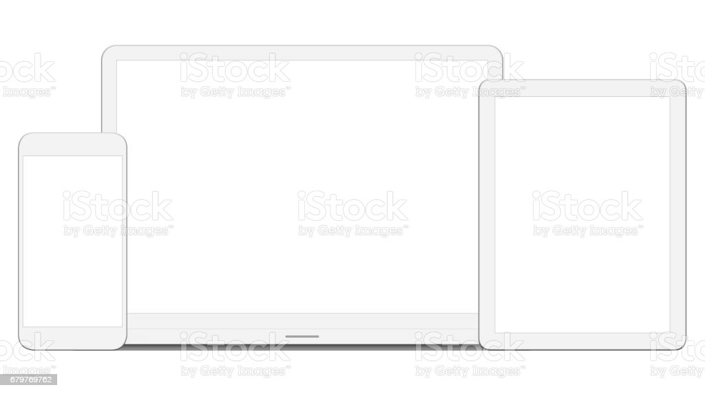 White Laptop, Digital Tablet and Smart Phone stock photo