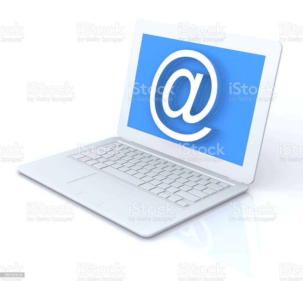 White laptop graphic with blue screen & large white @ symbol royalty-free stock photo