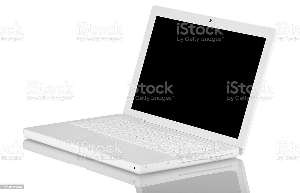 White laptop - side view royalty-free stock photo